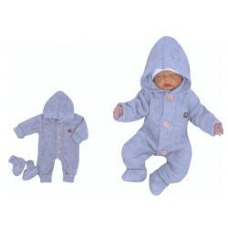 Z&Z Dětský pletený overálek s kapucí + botičky, modrý