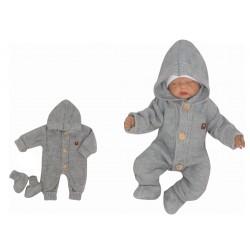 Z&Z Dětský pletený overálek s kapucí + botičky, šedý