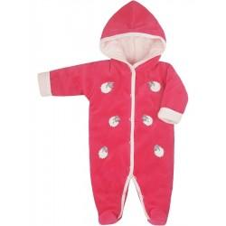 Zimní kojenecká kombinéza Bobas Fashion Ovečky malinová, Růžová, 62 (3-6m)