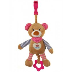 Dětská plyšová hračka s hracím strojkem Baby Mix Medvídek růžový