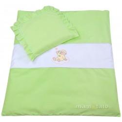 Set do kočárku s výšivkou lux 2D - Medvídek na mráčku - zelený