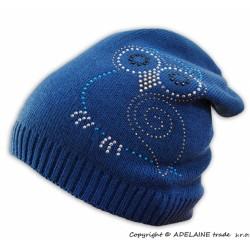 Jarní/podzimní čepice Sovička - jeansově modrá