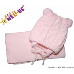 Zimní pletená čepička s šálou MIMI BEAR s bambulkami - sv. růžová