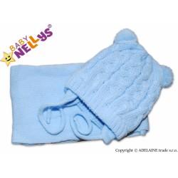Zimní pletená čepička s šálou MIMI BEAR - modrá s bambulkami