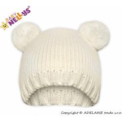 Zimní čepice Baby Nellys ® MEDVÍDEK - smetanová