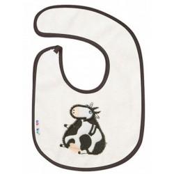 Dětský froté bryndák Akuku bílý s kravičkou