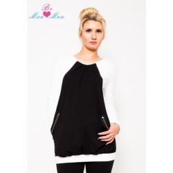 Těhotenská tunika UMA - bílá/černá