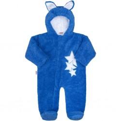 Zimní dětská kombinéza New Baby Ušáček modrá, Modrá, 56 (0-3m)