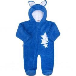 Zimní dětská kombinéza New Baby Ušáček modrá, Modrá, 62 (3-6m)
