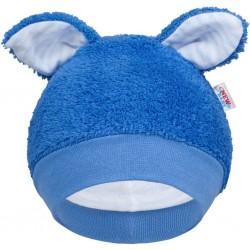 Zimní kojenecká čepička New Baby Ušáček modrá, Modrá, 56 (0-3m)