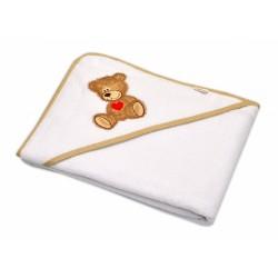 Froté osuška s kapucí Baby Nellys® 100x100cm Sweet TEDDY - bílá