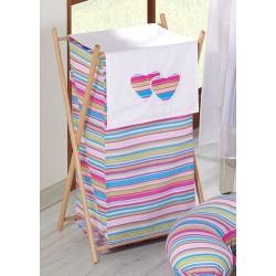 Luxusní praktický koš na prádlo - Srdíčko VP lila