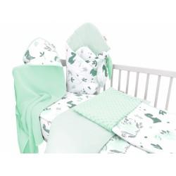 Baby Nellys 6-ti dílná výhod. sada s dárkem pro miminko, 120 x 90 cm - Dino, mátový