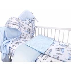 Baby Nellys 6-ti dílná výhodná sada s dárkem pro miminko, 120 x 90 cm - Vláček, modrý