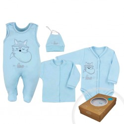 4-dílná kojenecká souprava Koala Fox Love modrá, Modrá, 50