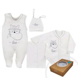 4-dílná kojenecká souprava Koala Fox Love smetanová, Smetanová, 56 (0-3m)