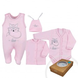 4-dílná kojenecká souprava Koala Fox Love růžová, Růžová, 56 (0-3m)