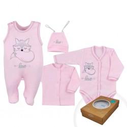 4-dílná kojenecká souprava Koala Fox Love růžová, Růžová, 68 (4-6m)