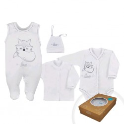 4-dílná kojenecká souprava Koala Fox Love bílá, Bílá, 50