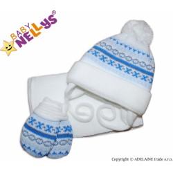 Sada - čepička, šál a rukavičky - vzorovaná bílá