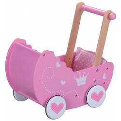 Dřevěný kočárek pro panenky  - růžový