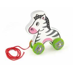 Edukační dřevěná hračka 15,5 cm tahací - Zebra
