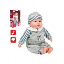 Polsky mluvící a zpívající dětská panenka PlayTo Agnieszka 46 cm, Šedá