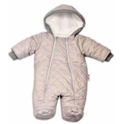 Kombinézka s kapuci LUX Baby Nellys ®prošívaná - sv. šedá