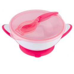 Uzaviratelná miska s přísavkou a lžičkou Baby Ono - růžová