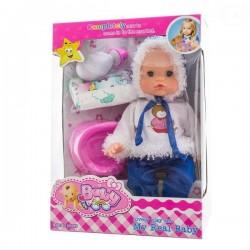 Panenka, miminko zpívající, čůrající a pijící - modrá/bílá