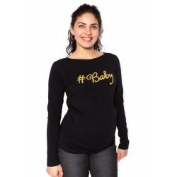 Těhotenské triko dlouhý rukáv Baby - černé