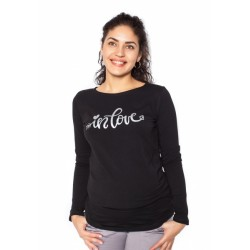 Těhotenské triko dlouhý rukáv In Love - černé