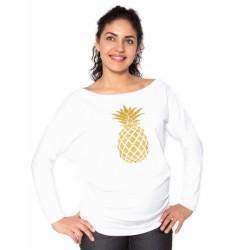 Těhotenská mikina, triko Ananas - bílá