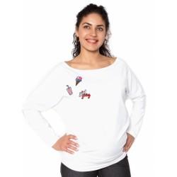 Těhotenská mikina, triko s nášivkami - bílé