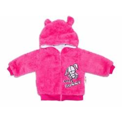 Baby Nellys Kojenecká chlupáčková bundička s kapucí Cute Bunny - malinová