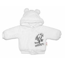Baby Nellys Kojenecká chlupáčková bundička s kapucí Cute Bunny - bílá