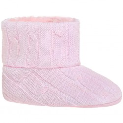 Dětské zimní capáčky Bobo Baby 6-12m růžový úplet, Růžová, 80 (9-12m)