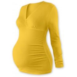 Těhotenské triko/tunika dlouhý rukáv EVA - žlutooranžové