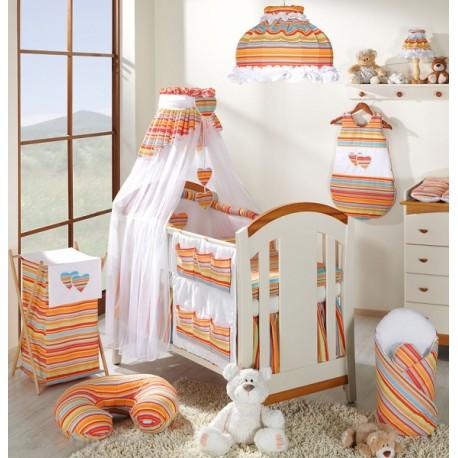 Luxusní mega set s výšivkou Š - Srdíčko proužek pomeranč