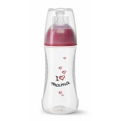 BIBI Antikoliková láhev, I love mama, 2 m+, 260 ml, červená