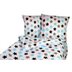 Bavlněné povlečení Baby Nellys ® 140 x 200 - barevné hvězdičky - modré