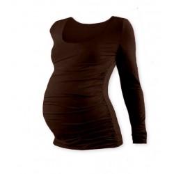 Těhotenské triko JOHANKA s dlouhým rukávem - čokohnědá