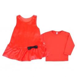 Kojenecké semiškové šatičky s tričkem Bobas Fashion Bow červené, Červená, 74 (6-9m)