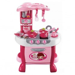 Velká dětská kuchyňka s dotykovým sensorem Bayo + příslušenství, Růžová
