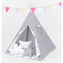 Stan pro děti teepee, týpí bez výbavy - mini hvězdičky bílé na šedém / víly šedé