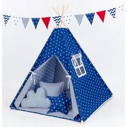 Stan pro děti teepee, týpí S VÝBAVOU - hvězdičky bílé na modrém / modré proužky