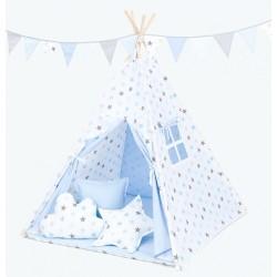Stan pro děti teepee, týpí S VÝBAVOU - hvězdy šedé a modré / světle modrý