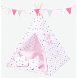 Stan pro děti teepee, týpí S VÝBAVOU - hvězdy šedé a růžové / světle růžový