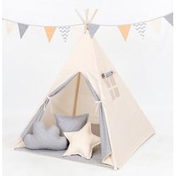 Stan pro děti teepee, týpí S VÝBAVOU - béžový / mini hvězdičky bílé na šedém