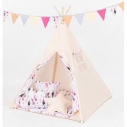 Stan pro děti teepee, týpí S VÝBAVOU - béžový / růžová pírka